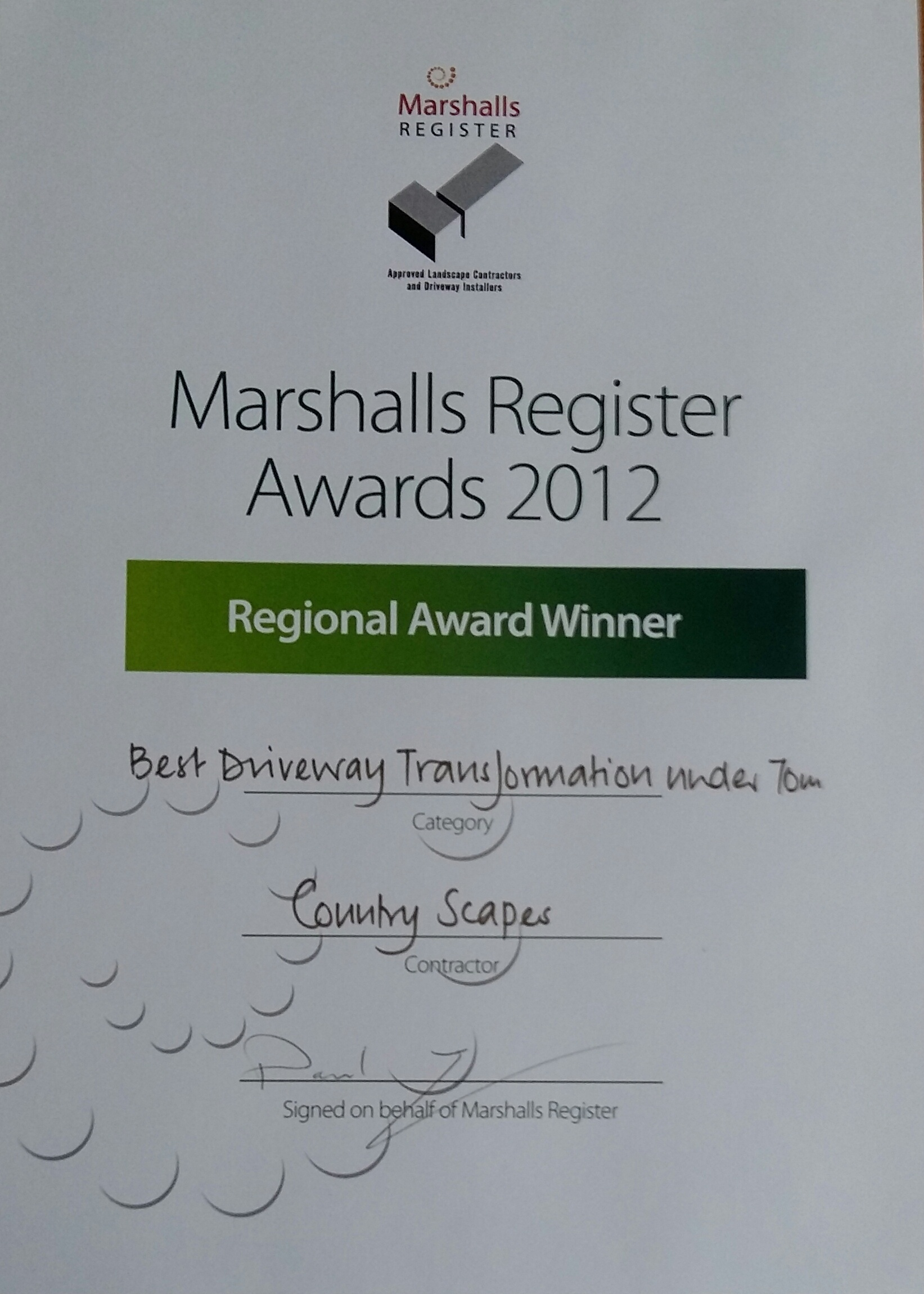 Driveway Transformation Award